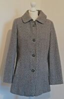 M&S Wool Blend Grey Coat Tweedy Herringbone UK 10  Button Down Smart Fitted Work