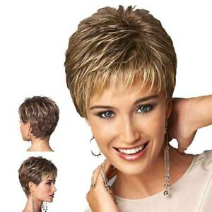 Ladies Wigs Curly Women Short Natural Hair Cosplay Wigs Brown +Golden Wig