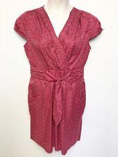 HI THERE KAREN WALKER red white spot dress sz 14 tie front ,pockets, cap sleeves