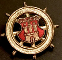 Vintage Hamburg Germany Ship's Wheel With Crest Enamel And Metal Lapel Pin