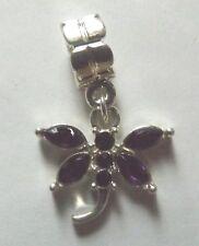 pendentif argenté libellule violette 19x20 mm