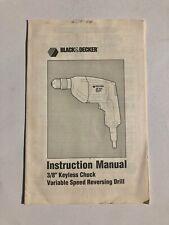 """Black & Decker Instruction Manual 3/8"""" Keyless Chuck Variable Speed Drill"""