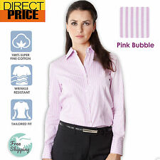 Womens Blouse Shirts Cotton Ladies Casual Office Top Business Herringbone Pink