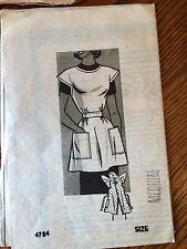 1940s Vintage Anne Adams Mail Order Pattern 4784 Full Apron Unprinted med 14-16