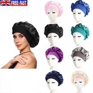 Women Lady Satin Bonnet Cap Night Sleep Hair Head Cover Silk Feel Elastic Hat