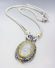 EXQUISITE Balinese Silver Filigree Gold CZ Crystals Oval Pendant Chains Necklace