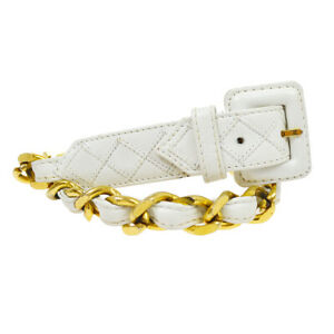 CHANEL CC Logos Chain Motif Bum Bag Attached Belt White Leather 70/28 AK25747j