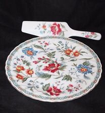 Smithsonian Institution Floral Design Cake Plate & Knife - Red French Wallpaper