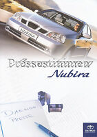 Daewoo Nubira Pressestimmen Prospekt 2003 Presse brochure Autoprospekt Broschüre