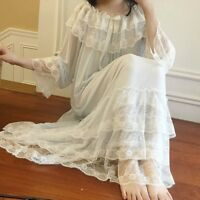 Lady Lolita Victorian Nightdress Nightwear Sleepwear Tulle Lace Ruffle Retro Top