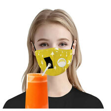 4PCS Adult Reusable Drinking Mask Face Mask with Breather Valve Hole for Straw