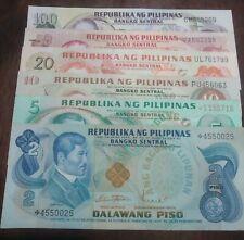 SET, Ang Bagong Lipunan series, 2,5,10,20,50,100. UNC!! 2 & 5 are Starnotes...