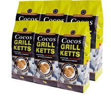 Cocos Grillketts 18kg Six-Pack - ökologische Kokosbriketts aus Kokosnuss Kohle