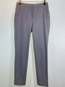 BNWOT ZARA grey beige check ruffle pocket cigarette skinny trousers size XS 6 8