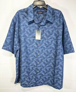 ROUNDTREE & YORKE Big Men Blue Metallic S/S Sqre Tail Button-Up Shirt sz 2XB NWT
