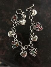 Brighton Heart Charm Chain Bracelet Go Red Dress Love Laugh Dream Enamel Silver