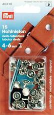 Prym 15 Hohlnieten Nieten Hohlniete 4-6 mm silberf.  Knöpfe Leder Tasche 403151