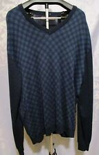 NWT ~ Perry Ellis Mens Blue Check VNeck Sweater ~ $65