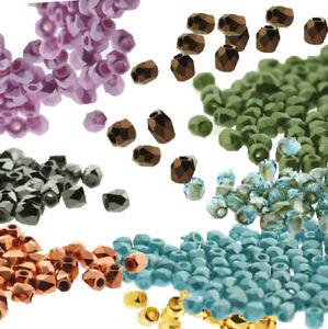 Tiny Fire Polish True2s 2mm Czech Glass Faceted Round Beads U-Pick