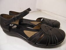 Natural Soul By Naturalizer Mary Janes Black Leather Ankle Strap Womens Sz 11 M