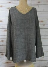 Eileen Fisher Womens Large Black 3/4 Sleeve Linen Viscose V-Neck Tunic Shirt L