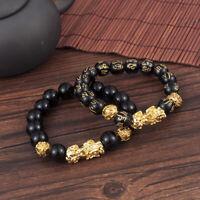 Feng Shui Black Obsidian Beads Alloy Wealth Bracelet Golden Pixiu Charms Jewelry