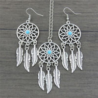 Bohemian Boho Dreamcatcher Leaves Feather Pendant Necklace Earrings JewelryIJXPF