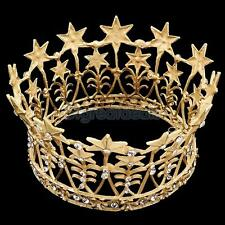 Luxury Gold Crystal Wedding Bridal Queen Crown Tiara Pageant Prom Party
