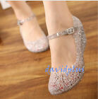 Womens Sandals High Heels shoes Girls Wedge Glass Jelly Shoes Slipper Summer