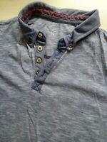 Mens New Look Grey Short Sleeve Polo Shirt Size M Medium
