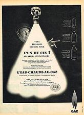 PUBLICITE ADVERTISING 124  1959   GAZ  l'EAU-CHAUDE-AU-GAZ