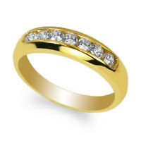 JamesJenny Men's Yellow Gold Plated Round CZ Channel Band Ring Size 8-12