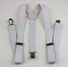 WHITE SUSPENDERS Women Mens MEN'S Braces Belt 85cms Adjustable Formal Casual
