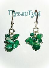 Cluster Earrings...Gemstone & Crystal in Blue/ Green...Silver Plated Hallmarked