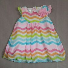 Baby Girls Dress 6-9 Months Small Wonders Multi Colored Striped Sleeveless