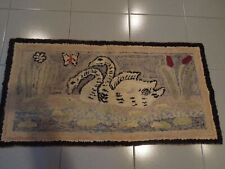 ANTIQUE HAND MADE HOOKED CARPET  40'' X 20''1/2