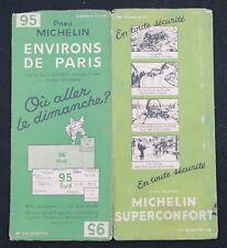 Carte MICHELIN n°95 Environs de Paris 1933 old map Bibendum pneu tyre