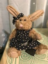 "Boyd's Bear Brown Bunny 5"" Navy Blue Bear Wear"
