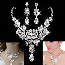 Silver Wedding Bridal Formal Jewellery Crystal Rhinestone Necklace Earrings Set