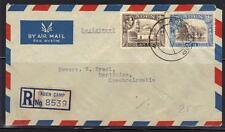 Aden Enregistrée 1948 Aérien Courrier Housse Camp Reg. Étiquette Et Grèves Avant
