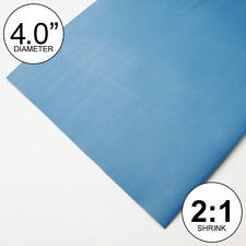 """(8 INCHES) 4.0"""" Blue Heat Shrink Tubing 2:1 Ratio feet/foot/ft/to U.S. 4"""" 100mm"""
