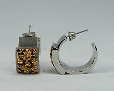 INOX JEWELRY Womens Polished Stainless Steel Crystal Leopard Design Earrings