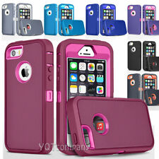 For iPhone 4 4S 5 5S SE 5C Phone Case, Shockproof Cover+Tempered Glass Protector