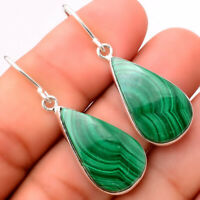 Natural Malachite Eye - Congo 925 Sterling Silver Earrings Jewelry 5809