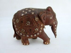 Antique Old Hand Carved Wood Decorative Walking Elephant Figurine Statue