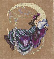 Cross Stitch Chart / Pattern ~ Mirabilia Crescent Moon Flowers Woman #MD137