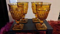 Indiana Glass Amber 9oz Mt Vernon 4 Wine Glass/Goblets