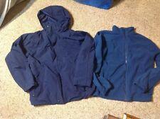 LL BEAN Mens Season 3 In 1 Jacket Parka Barn SMALL Winter Coat Blue Fleece