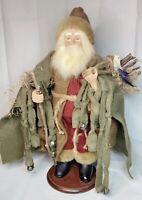 "Vintage Christmas 16"" Santa Claus Bersnickle Figure Doll Clay Face Fur Bells Bir"