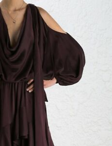 ZIMMERMANN Silk Playsuit Satin Suede Plum Burgundy Red Blouson Sleeves 0-S/M🍇